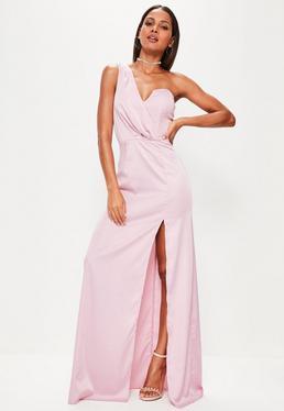 Różowa sukienka maxi na jedno ramię