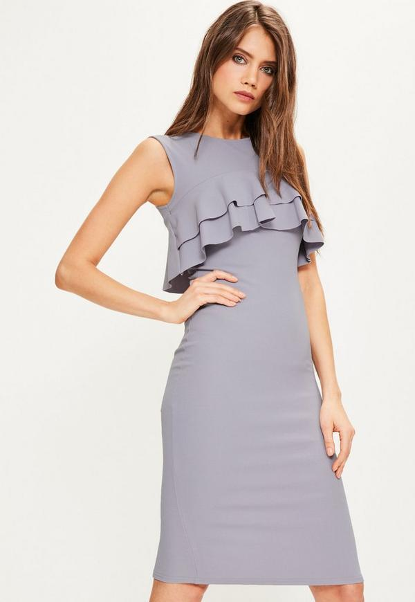 Blue Crepe Sleeveless Frill Midi Dress