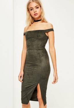 Khaki Faux Suede Bardot Midi Dress