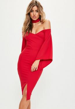 Red Crepe Choker Batwing Midi Dress