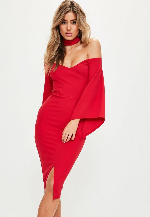 Red Crepe Choker Batwing Midi Dress
