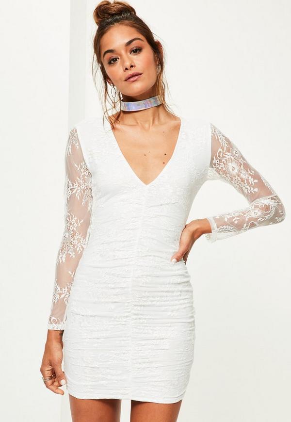 White Fine Lace Plunge Ruche Bodycon Dress