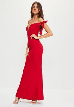 Red Sweetheart Neck Bardot Tie Maxi Dress