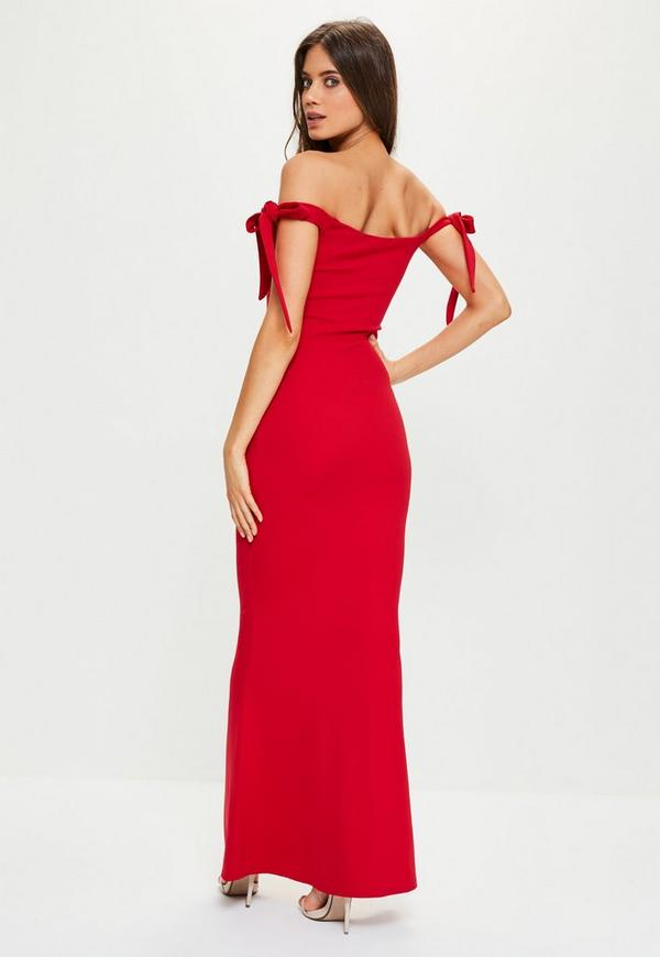 Red Sweetheart Neck Bardot Tie Maxi Dress Missguided