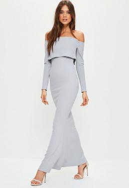 Grey Crepe Long Sleeve Bardot Maxi Dress