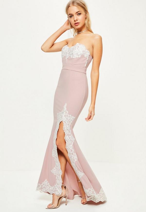 Pink Crepe Lace Maxi Dress