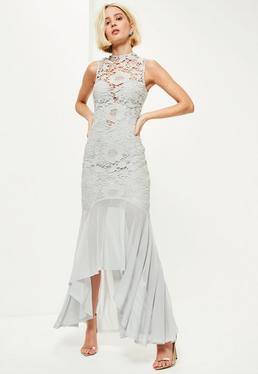 Grey Lace High Neck Mesh Fishtail Maxi Dress