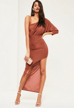 Orange Slinky One Shoulder Midi Dress