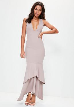 Nude Crepe Plunge Fishtail Maxi Dress