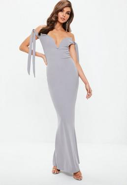 Szara sukienka maxi bardot wiązana na ramionach