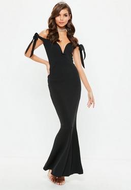 Czarna długa sukienka bardot z wiązaniami na ramionach