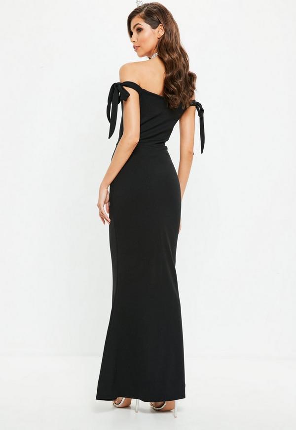 Black Sweetheart Neck Bardot Tie Maxi Dress   Missguided Ireland