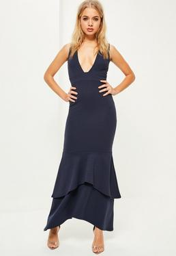 Navy Crepe Plunge Fishtail Maxi Dress