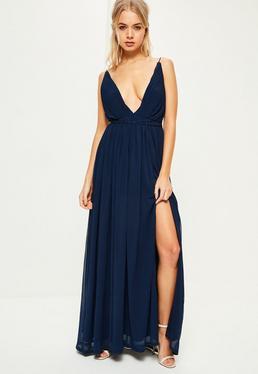 Vestido largo con escote pronunciado plisado en azul marino