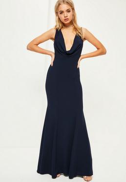 Vestido largo con cuello holgado en azul marino
