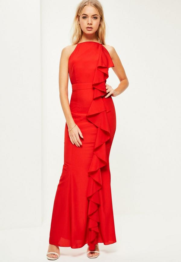Red Frill 90's Neck Maxi Dress