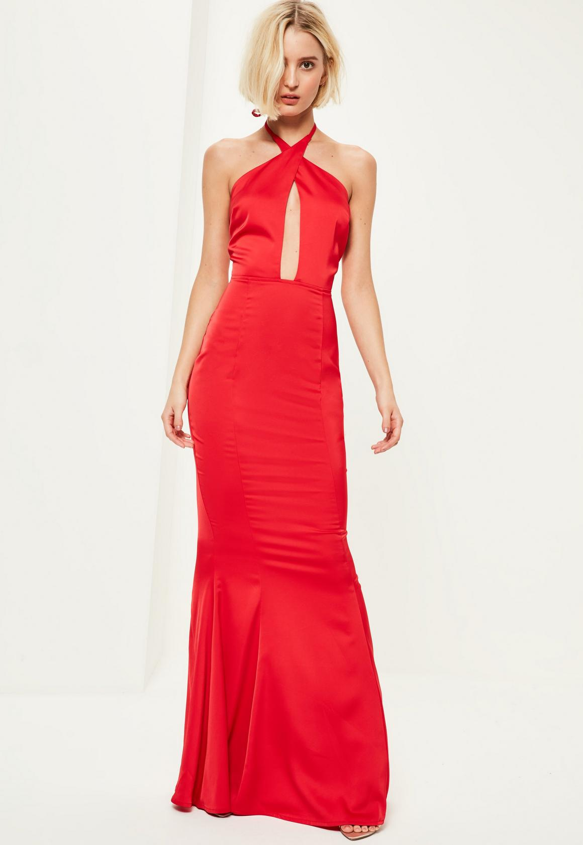 Red Plunge Halterneck Fishtail Maxi Dress - Missguided