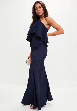Navy Crepe Frill Maxi Dress