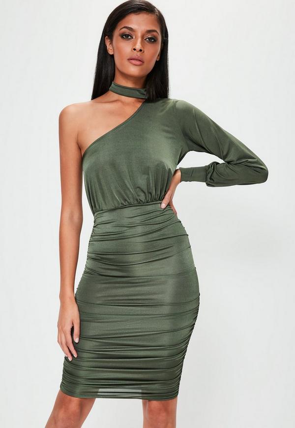 Khaki Slinky One Shoulder Ruched Midi Dress