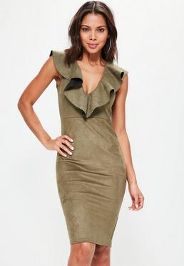 Khaki Faux Suede Frill Midi Dress