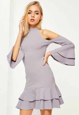 Grey Crepe Cold Shoulder Frill Bodycon Dress