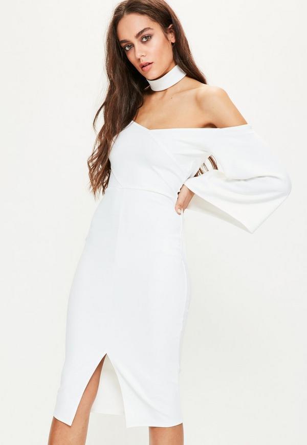 White Crepe Choker Neck Batwing Midi Dress