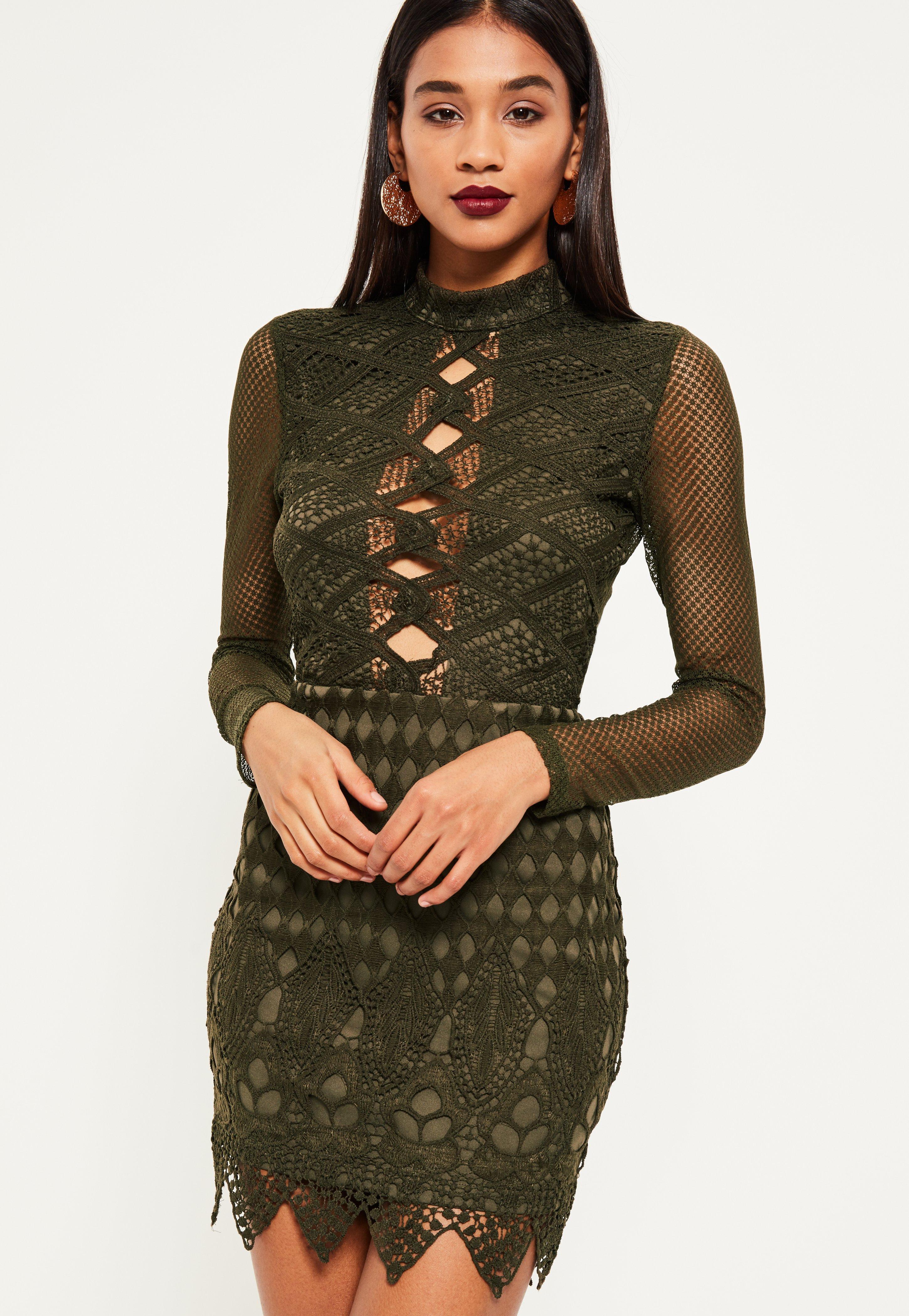 Khaki lace lattice front detail bodycon dress