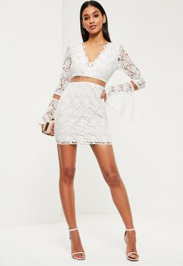 White Lace Flare Sleeve Bodycon Dress