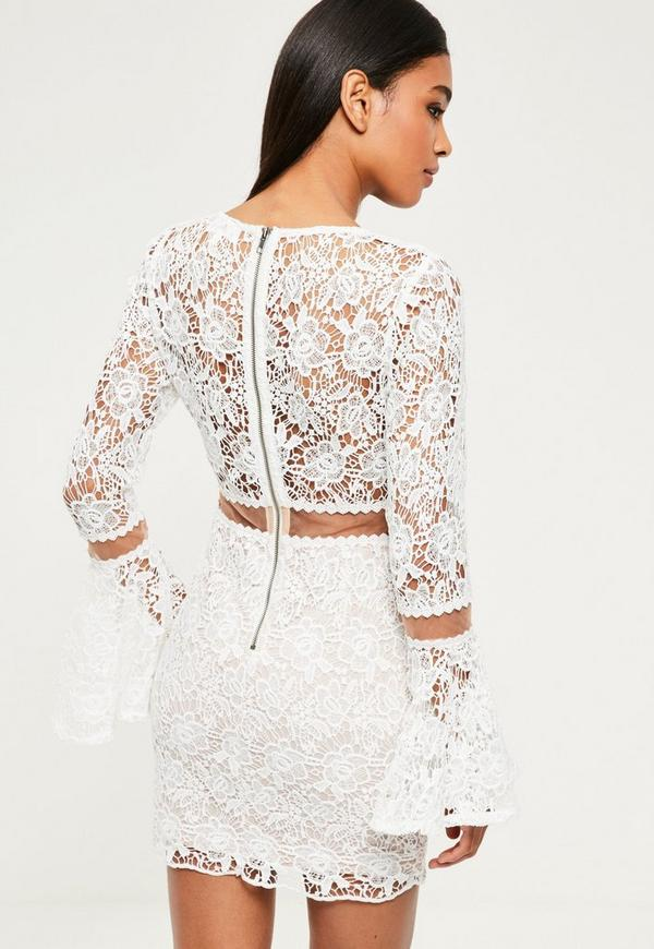 White Lace Flare Sleeve Bodycon Dress | Missguided Ireland