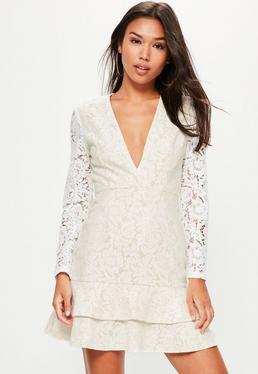 White Lace Plunge Long Sleeve Frill Shift Dress