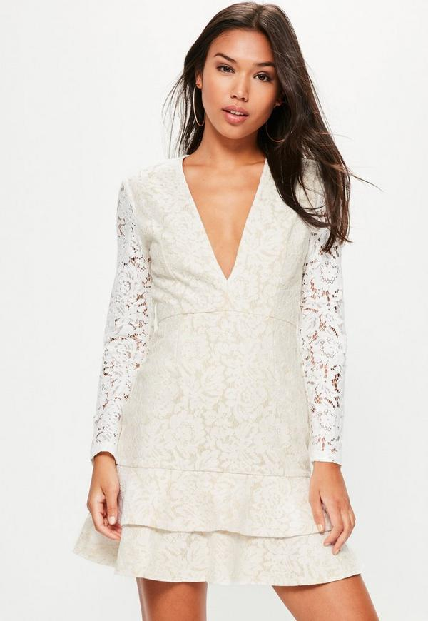 White Lace Plunge Long Sleeve Frill Shift Dress