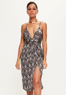 Black Snake Print Plunge Knot Midi Dress