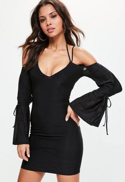 Black Cold Shoulder Balloon Sleeve Dress