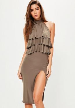 Brown Slinky Frill Top Midi Dress