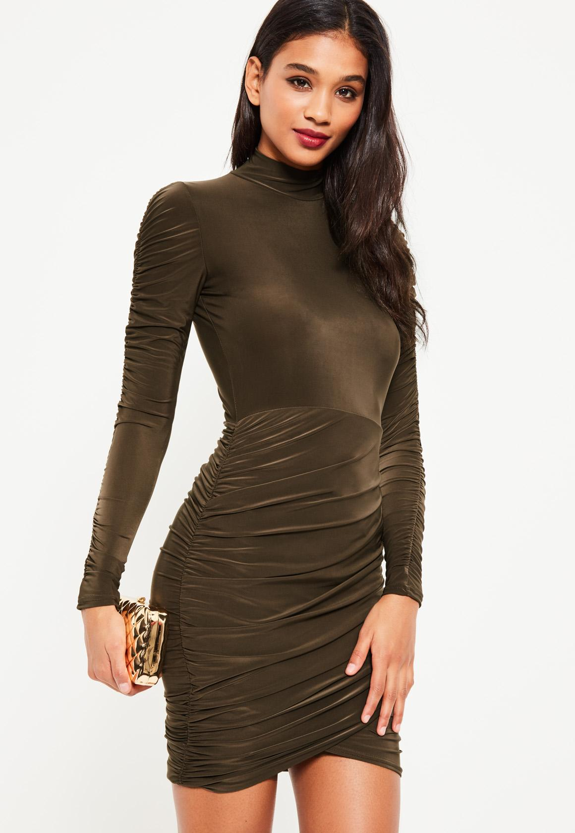 Khaki Slinky High Neck Ruched Dress