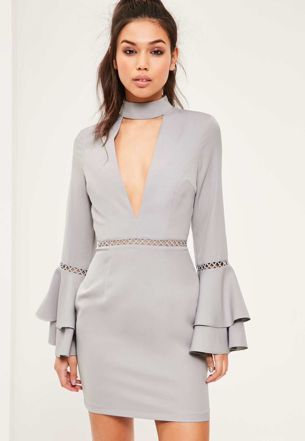 Grey Crepe Ladder Detail Flared Sleeve Bodycon Dress
