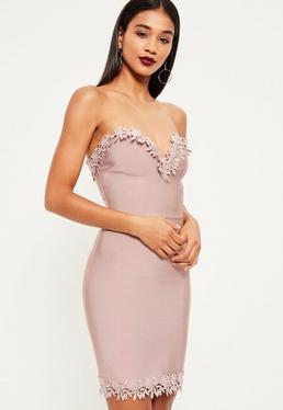 Pink bandage floral trim bodycon dress