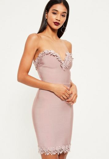 Pink bandage floral trim bodycon dress - missguided
