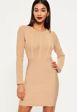 Nude Bandage and Mesh Stripe Bodycon Dress