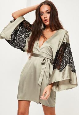 Green Silky Kimono Lace Insert Shift Dress