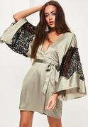 Green Silky Kimono Lace Insert Shift Dress
