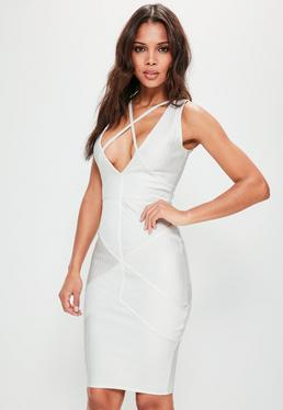 Premium White Bandage Harness Detail Midi Dress