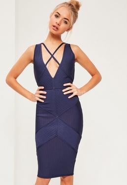 Granatowa sukienka midi Premium z paskami na dekolcie