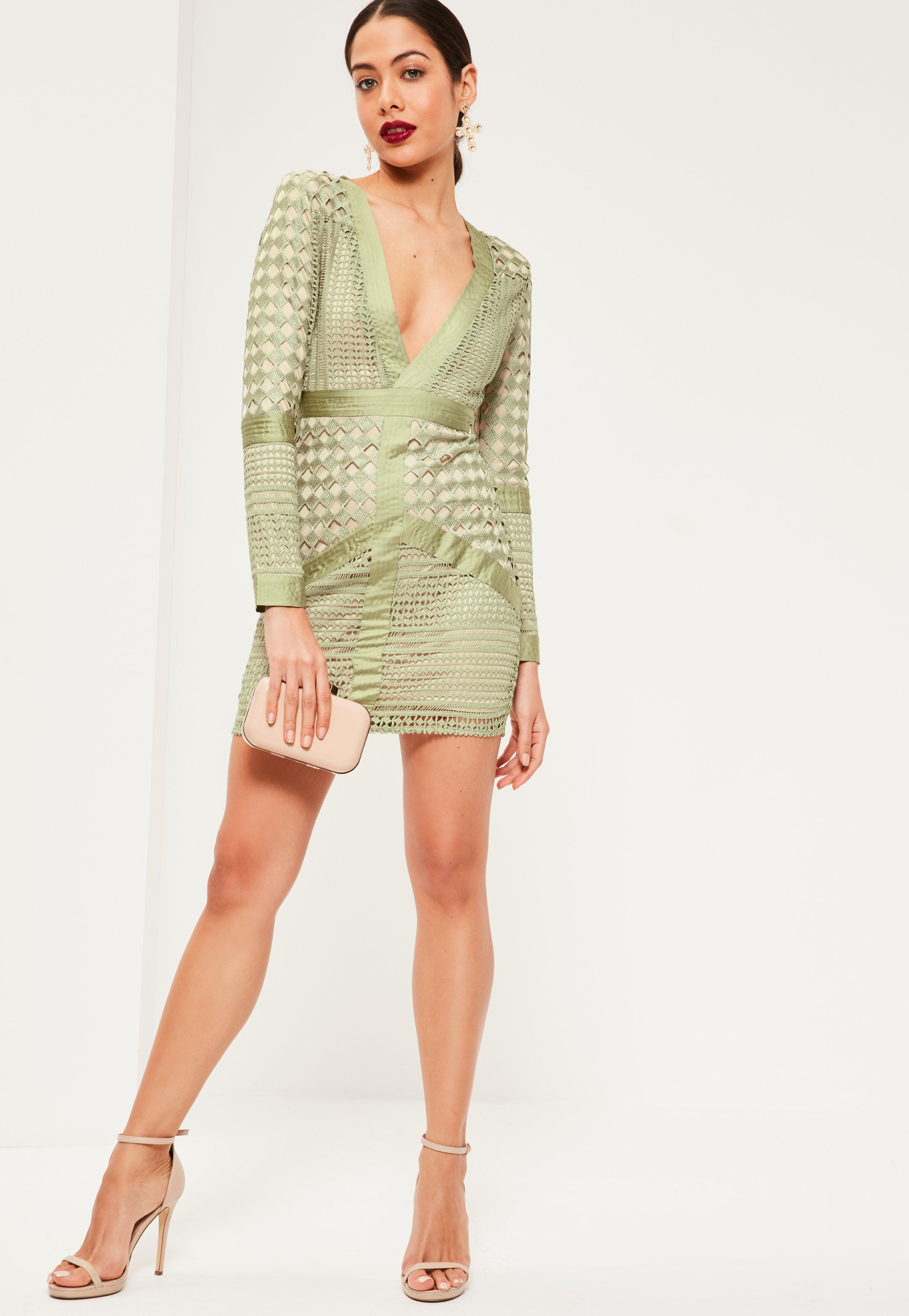 Green Lace Plunge Bodycon Dress