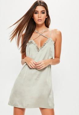 Silver Silky Frill Detail Shift Dress