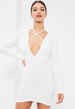 White Tie Neck Plunge Long Sleeve Bodycon Dress