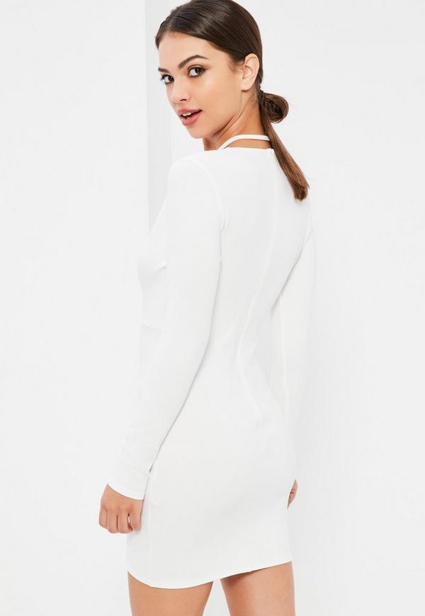 Sleeve white back dress tie long bodycon navy size