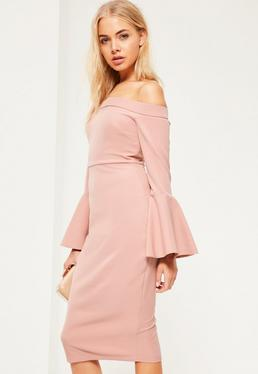 Pink Bardot Frill Sleeve Tailored Midi Dress