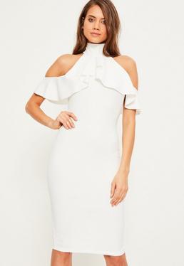 White High Neck Frill Cold Shoulder Midi Dress