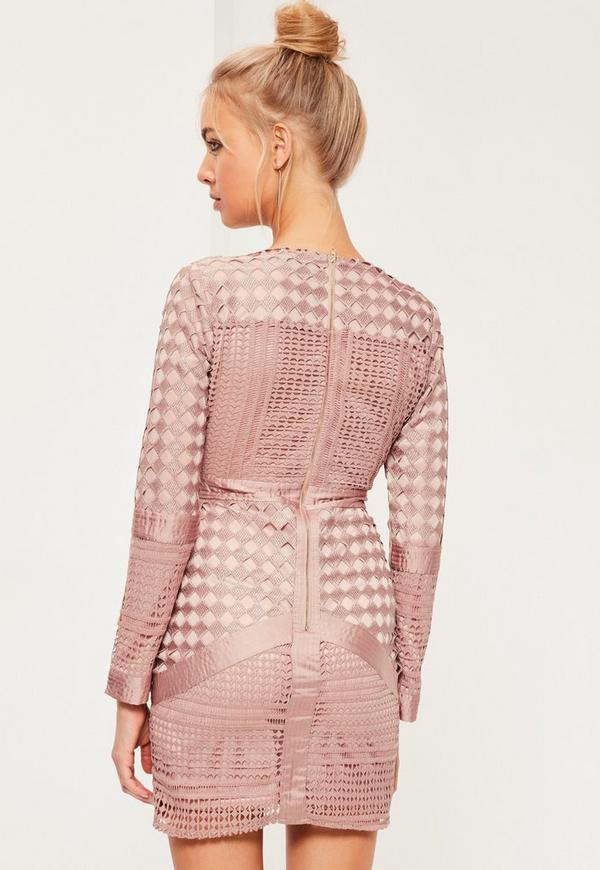 Pink Lace Plunge Bodycon Dress | Missguided